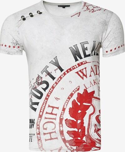 Rusty Neal Cooles T-Shirt mit großem Print in weiß: Frontalansicht