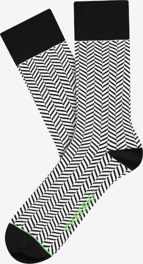 CHEERIO* Chaussettes 'HERRINGBONE HOMIE' en noir / blanc, Vue avec produit