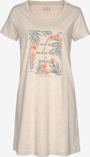 LASCANA Chemise de nuit en beige / vert / corail, Vue avec produit