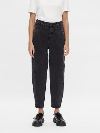 OBJECT Pressveckade jeans 'Mila' i svart denim: Sedd framifrån
