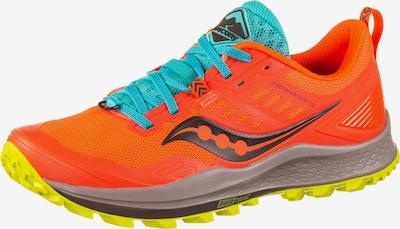 saucony Chaussure de course 'Peregrine 10' en turquoise / orange fluo / noir / blanc, Vue avec produit