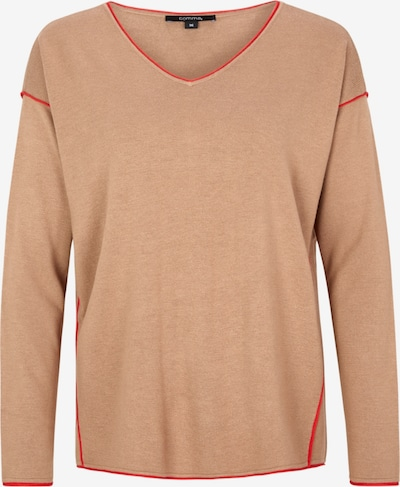 COMMA Pullover in hellbraun / rot: Frontalansicht