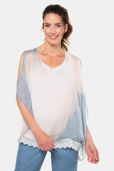 Gina Laura Seidenbluse in blau / rosa / weiß, Modelansicht