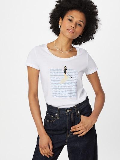 GREENBOMB T-Shirt 'Lifestyle Stand Up' in nude / hellblau / mint / schwarz / weiß: Frontalansicht