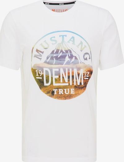 MUSTANG T-Shirt in himmelblau / braun / weiß, Produktansicht