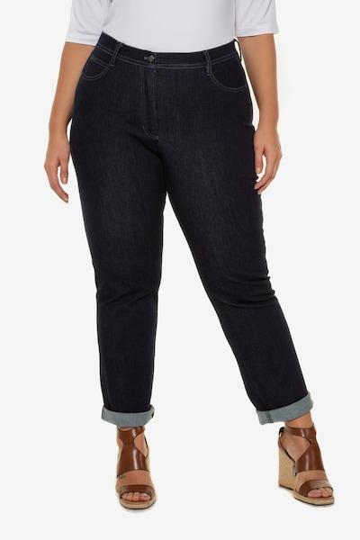 Ulla Popken Damen große Größen , Jeans aus dunklem Denim , 5-Pocket , Ziersteine , gerades Bein , bis Größe 64 712085 in blue denim, Modelansicht