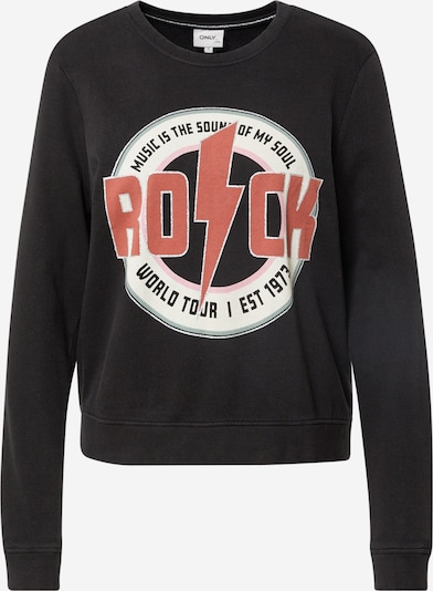 ONLY Sweatshirt 'LUCINDA' in de kleur Oudroze / Zwart / Wit, Productweergave