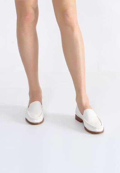 Ekonika Elegante Loafer aus weichem Leder in weiß: Frontalansicht