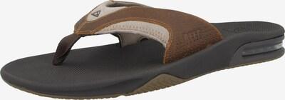 REEF Strand-/Badeschuh ' Leather Fanning ' in braun / schwarz / weiß, Produktansicht