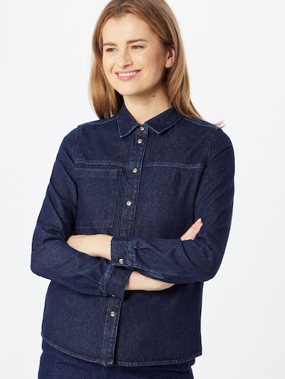 Noisy may Bluse 'Riley' in blue denim, Modelansicht