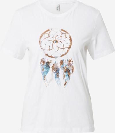 Tricou 'KITA' ONLY pe azuriu / auriu / gri / alb murdar, Vizualizare produs