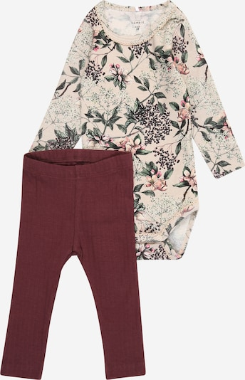 NAME IT Set 'DITEA' in creme / dunkelgrün / pink / pitaya / schwarz, Produktansicht