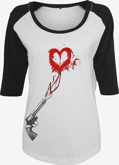 Merchcode Camiseta 'Pistol Heart' en gris oscuro / rojo / negro / blanco, Vista del producto