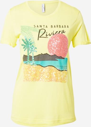 Sublevel T-Shirt in türkis / gelb / anthrazit / hellrot, Produktansicht