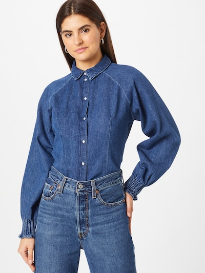 PIECES Blouse 'Eya' in de kleur Blauw denim, Modelweergave