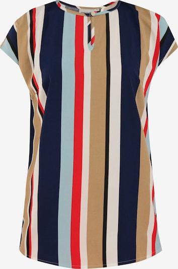 Finn Flare Kurzarmbluse mit Streifenprint in beige / blau / hellblau / rot, Produktansicht