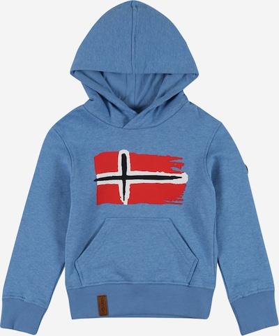 TROLLKIDS Sweat de sport 'Trondheim' en bleu chiné / rouge / noir / blanc, Vue avec produit