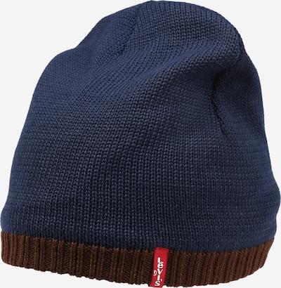 Megzta kepurė 'Lined Otis' iš LEVI'S, spalva – tamsiai mėlyna / ruda, Prekių apžvalga