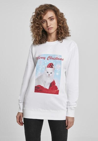Merchcode Sweat-shirt 'Merry Christmas Cat' en mélange de couleurs / blanc: Vue de face