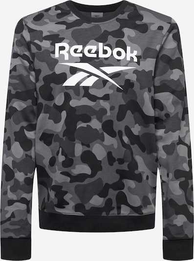 Reebok Sport Спортен блузон с качулка в сребърно сиво / светлосиво / тъмносиво / черно / бяло: Изглед отпред