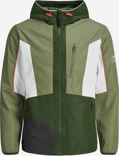 JACK & JONES Übergangsjacke in khaki / hellgrün / orange / weiß, Produktansicht