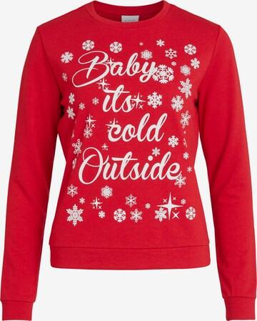 VILA Sweatshirt 'Cold Christmas' in Red