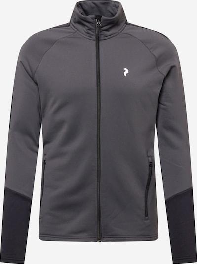 PEAK PERFORMANCE Sportjacke in grau / dunkelgrau / weiß, Produktansicht