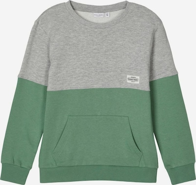 NAME IT Sweatshirt 'VALDOR' in graumeliert / grün, Produktansicht