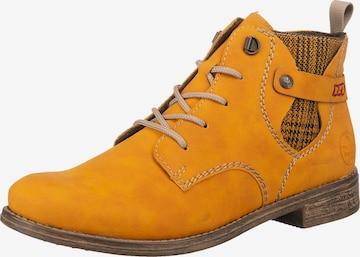 RIEKER Šnurovacie členkové čižmy - Žltá
