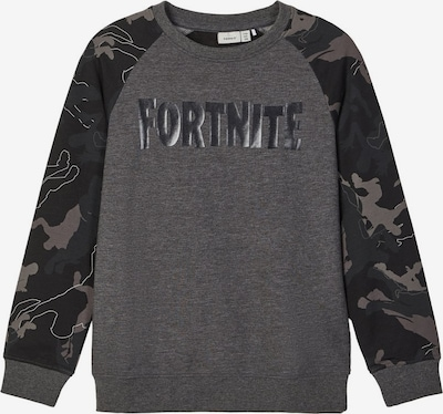 NAME IT Sweatshirt 'Fortnite' in anthrazit / basaltgrau / dunkelgrau / weiß, Produktansicht