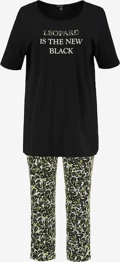 Ulla Popken Pyjama in gelb / khaki / schwarz / weiß, Produktansicht