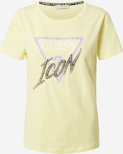GUESS Majica u pastelno žuta / ljubičasta / bijela, Pregled proizvoda