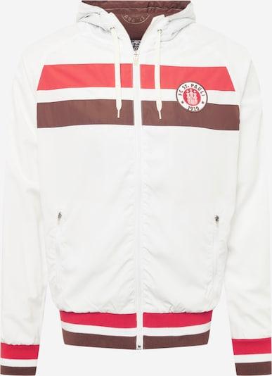 Geacă de primăvară-toamnă FC St. Pauli pe maro caramel / roșu pepene / alb murdar, Vizualizare produs