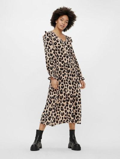 PIECES Kleid in beige / schwarz: Frontalansicht