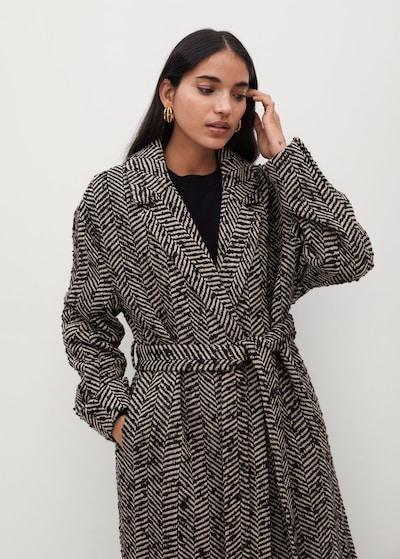 MANGO Mantel 'Fox' in grau / schwarz, Modelansicht