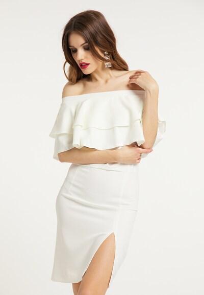 faina Etuikleid in weiß, Modelansicht