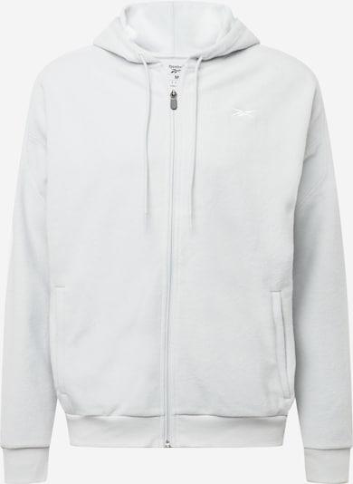 Reebok Sport Veste de survêtement en gris clair / blanc, Vue avec produit