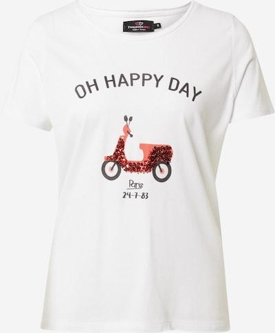 Zwillingsherz T-Shirt 'Oh Happy Day' in rot / schwarz / weiß, Produktansicht