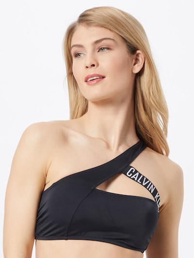 Calvin Klein Swimwear Top de bikini en negro / blanco, Vista del modelo