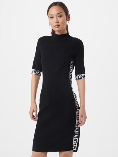 HUGO Úpletové šaty - černá / bílá, Model/ka