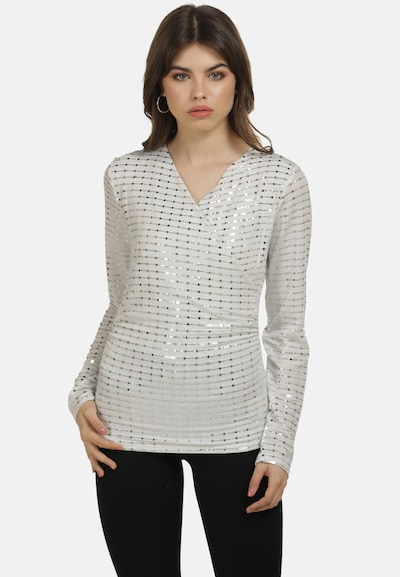 myMo at night Blouse in de kleur Zilver / Wit, Modelweergave