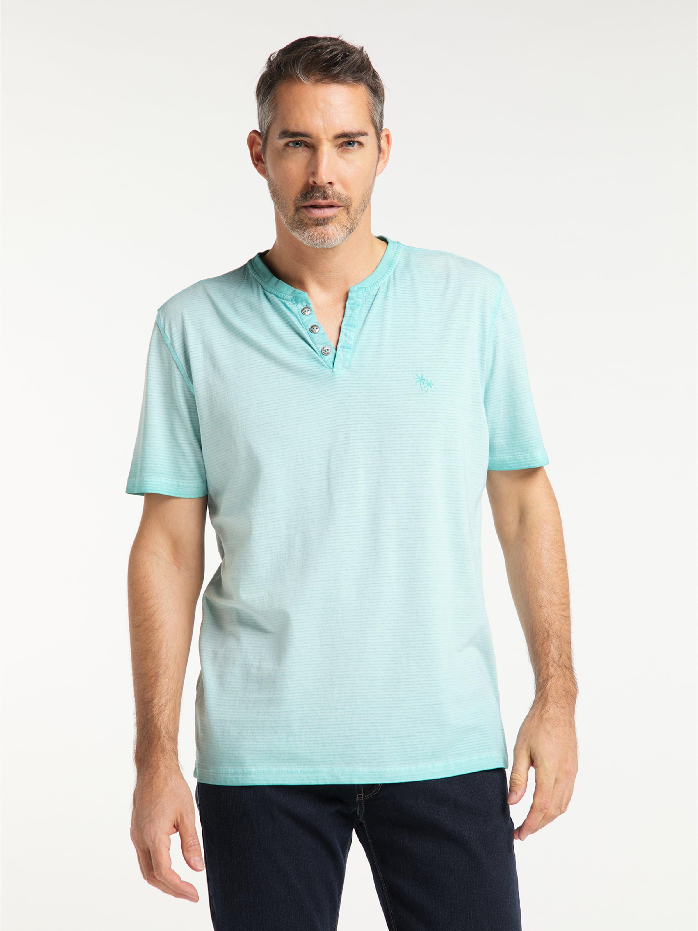 PIONEER T-Shirt 'Henley' in türkis Unifarben 04507/000/07312-526-L
