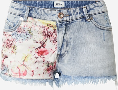 ONLY Shorts  'CARMEN LIFE' in blue denim / hellblau / gelb / pink / weiß, Produktansicht