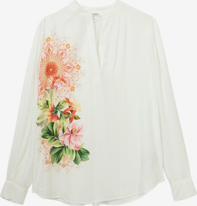 Bluză Desigual pe verde deschis / verde închis / portocaliu / roz deschis / alb, Vizualizare produs