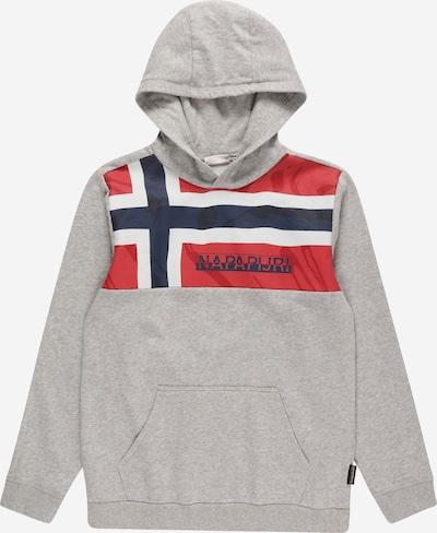 NAPAPIJRI Sweater majica 'BERI' u mornarsko plava / siva / crvena / bijela, Pregled proizvoda