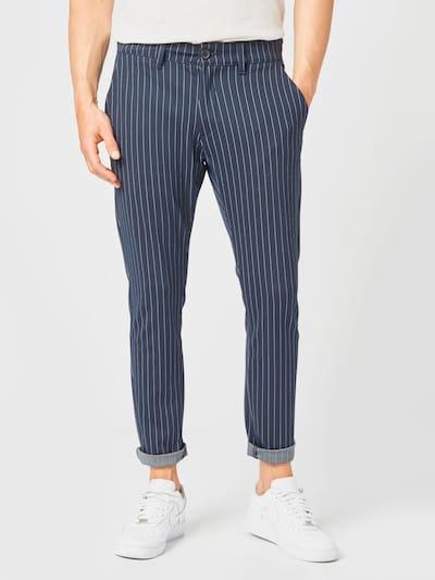 Denim Project Pantalon 'Ponte Roma Plain' en bleu marine / blanc, Vue avec modèle
