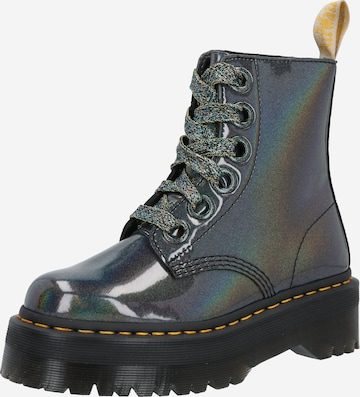 Dr. Martens Lace-Up Ankle Boots 'Molly Vegan' in Silver