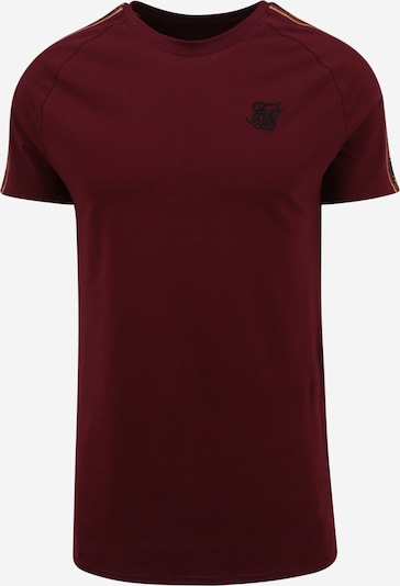 SikSilk Тениска в тъмнобежово / бургундово червено / светлочервено / черно, Преглед на продукта