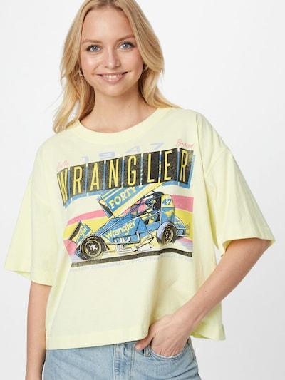 WRANGLER Тениска 'BOXY' в опушено синьо / жълто / пастелно жълто / черно: Изглед отпред