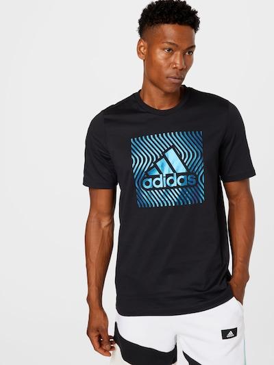 ADIDAS PERFORMANCE Функционална тениска в тюркоазен / черно: Изглед отпред
